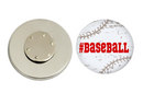 Magnetic Pin Back | Distressed Baseball | White - badges-and-buttons-club