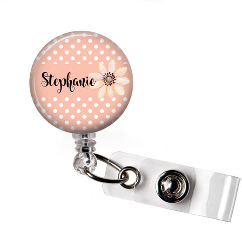 RN Badge Reel | Interchangeable | Pink Floral Polka Dot | Badges and Buttons Club
