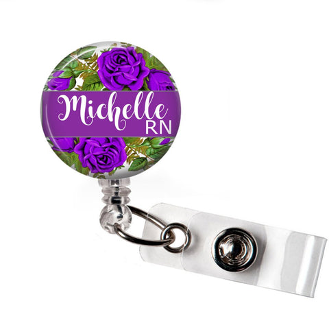 Retractable badge holder | Interchangeable | Purple Floral | Badges and Buttons Club