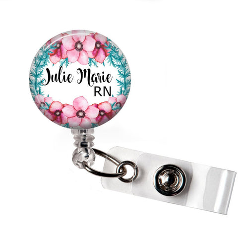 Pink and Blue Floral Wreath | Badge Reel | Badges and Buttons Club