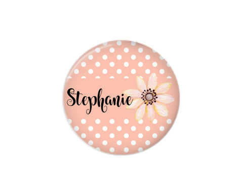 Button | Pink Polka Dot Floral - badges-and-buttons-club