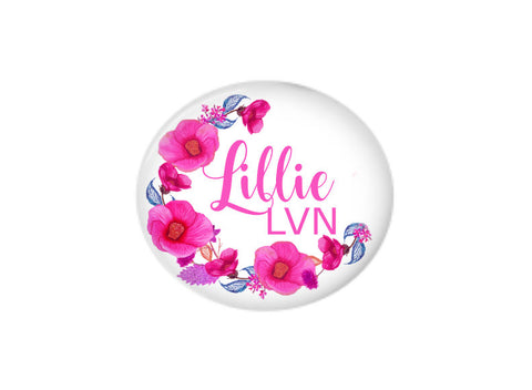 Button | Pink Floral Wreath | Badges and Buttons Club