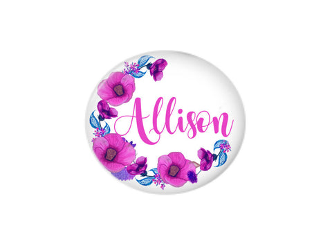 Button | Purple Floral Wreath | Badges and Buttons Club