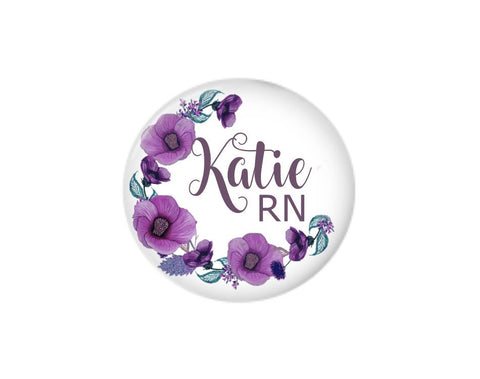 Button | Floral Wreath | Purple | Badges and Buttons Club