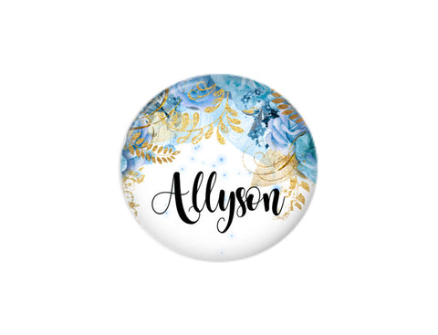 Button | Blue Floral | Badges and Buttons Club