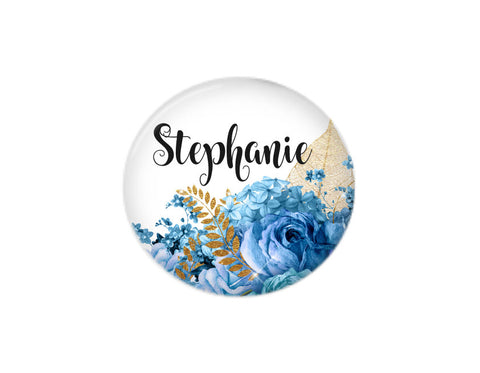 Button | Blue Floral - badges-and-buttons-club