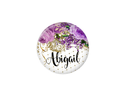 Button | Purple Floral | Badges and Buttons Club