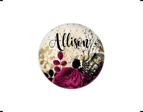 Button | Maroon Floral | Badges and Buttons Club