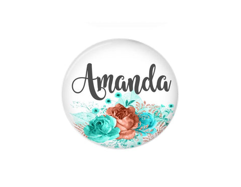 Button | Pink and Blue Floral | Badges and Buttons Club