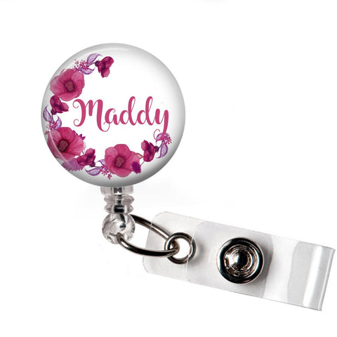 Pink Half Wreath Floral | Retractable badge holder | P012 | Badges and Buttons Club