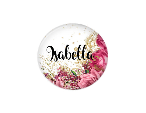 Pink Floral | Interchangeable Button | Badges and Buttons Club