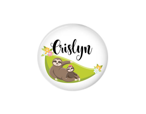 Button | Personalized Lounging Sloth | Badges and Buttons Club