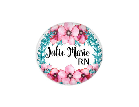 Button | Blue and Pink Floral - badges-and-buttons-club