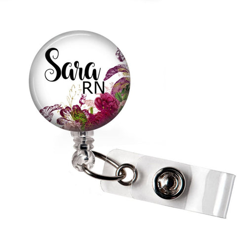 Red Floral Badge Reel Holder - badges-and-buttons-club