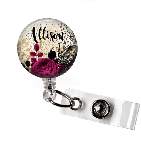Vintage Style Red Floral | Badge Reel | P045 | Badges and Buttons Club