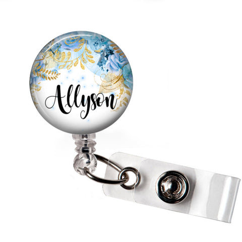 Blue Floral Badge Reel | Badges and Buttons Club