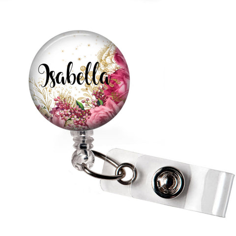 Badge Reel | Pink Floral - badges-and-buttons-club