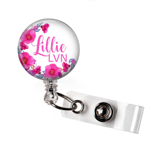 RN Badge Reel | Interchangeable | Pink Floral | Badges and Buttons Club