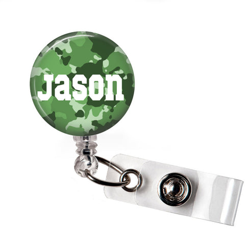 Dark Green Camo | Badge Reel | P015 | Badges and Buttons Club