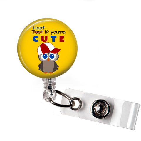 Hoot if your cute badge reel - badges-and-buttons-club