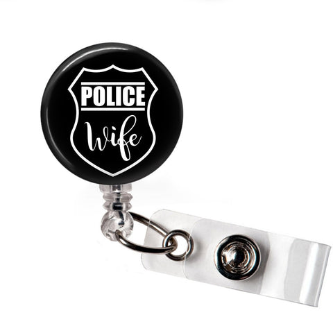 Police Wife Badge Reel - badges-and-buttons-club