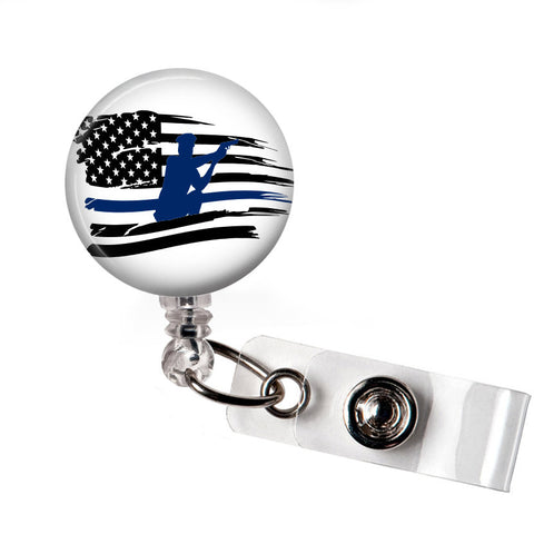 Thin Blue Line Flag Badge Reel | Badges and Buttons Club