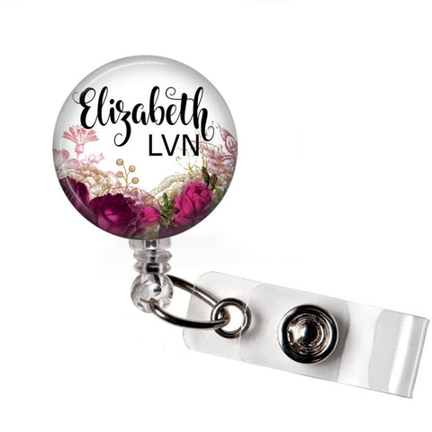 Floral | Badge Reel | Red | P043 | Badges and Buttons Club