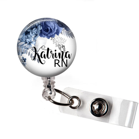 Badge Reel | Blue Floral | P037 | Badges and Buttons Club