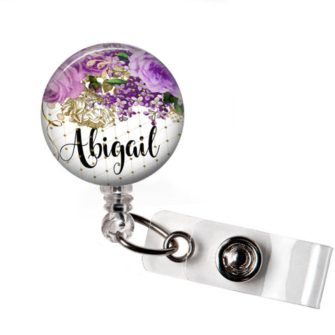 Purple Floral | Retractable badge holder | Badges and Buttons Club