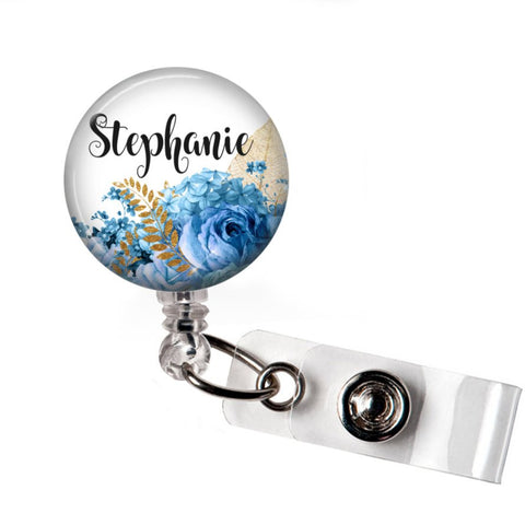 Blue Floral | RN Badge Reel | P040 | Badges and Buttons Club