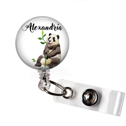 Retractable badge holder | Interchangeable | Personalized Panda | Badges and Buttons Club