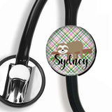 Personalized Stethoscope ID tag | Sloth| S004 | Badges and Buttons Club