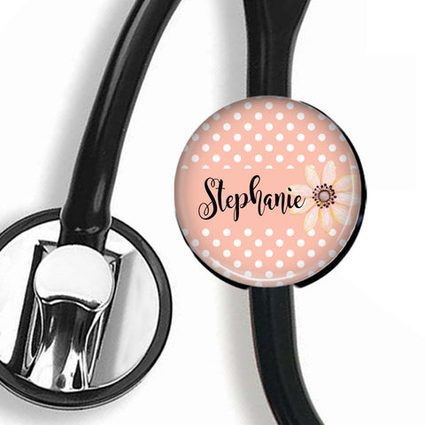 Interchangeable Personalized Stethoscope ID tag, S009 | Badges and Buttons Club