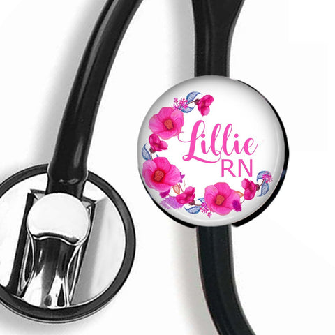 Interchangeable Personalized Stethoscope ID tag, S010 | Badges and Buttons Club