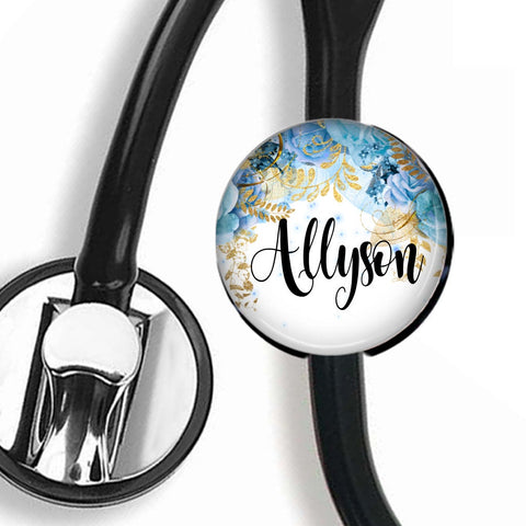 Personalized Stethoscope ID tag, Interchangeable Stethoscope ID Tag, Stethoscope Name ID tag, Stethoscope Name Tag, S038 - badges-and-buttons-club