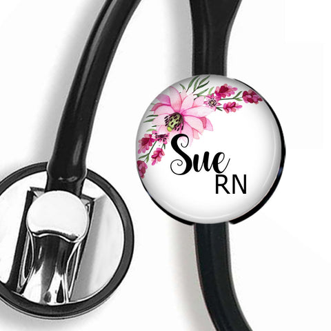 Personalized Stethoscope ID tag, Interchangeable Stethoscope ID Tag, Stethoscope Name ID tag, Stethoscope Name Tag, S060 - badges-and-buttons-club