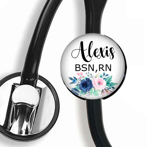 Personalized Stethoscope ID tag, Interchangeable Stethoscope ID Tag, Stethoscope Name ID tag, Stethoscope Name Tag, S062 - badges-and-buttons-club