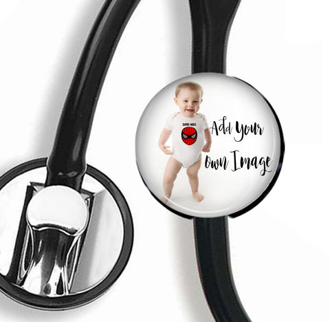 Stethoscope id Tag Add Your Photo, Custom Photo id tag, Photo id , RN stethoscope id tag, Interchangeable photo id tag, Gift for Nurses - badges-and-buttons-club