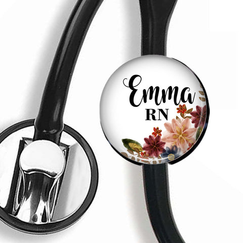 Personalized Stethoscope ID tag, Interchangeable Stethoscope ID Tag, Stethoscope Name ID tag, Stethoscope Name Tag, S067 - badges-and-buttons-club