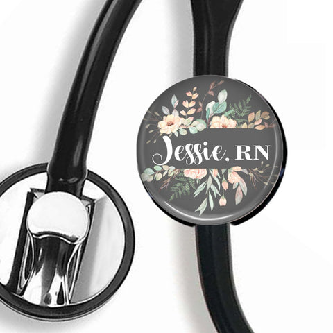 Personalized Stethoscope ID tag, Interchangeable Stethoscope ID Tag, Stethoscope Name ID tag, Stethoscope Name Tag, S068 - badges-and-buttons-club