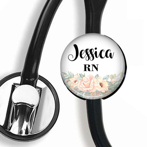 Personalized Stethoscope ID tag, Interchangeable Stethoscope ID Tag, Stethoscope Name ID tag, Stethoscope Name Tag, S073 - badges-and-buttons-club
