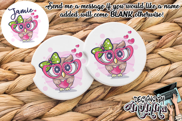 Cute Glasses Owl Sandstone Coaster (Single or Set of 2)