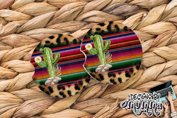 Cactus Serape Sandstone Coaster (Single or Set of 2)