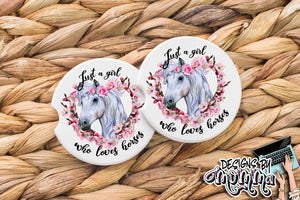 Just a Girl who loves Horses Sandstone Coaster (Single or Set of 2)