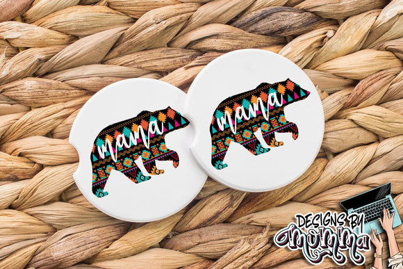 Mama Bear Aztec Sandstone Coaster (Single or Set of 2)