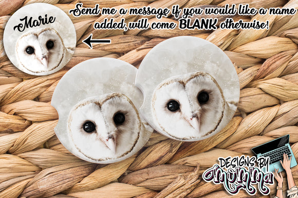 White Winter Owl Sandstone Coaster (Single or Set of 2)