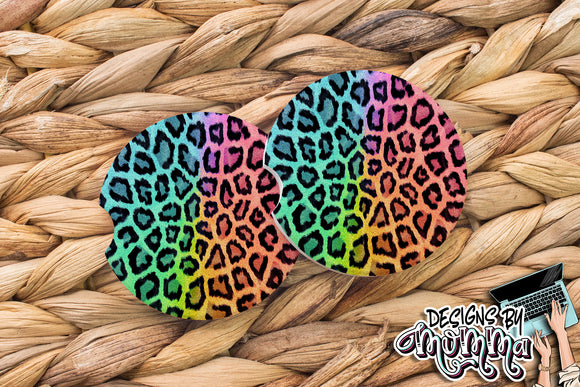 Rainbow Leopard Sandstone Coaster (Single or Set of 2)