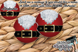 Santa Belt Christmas Sandstone Coaster (Single or Set of 2)