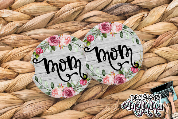 Floral Wood Mom Sandstone Coaster (Single or Set of 2)