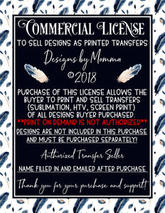 Commercial License to Sell Printed Transfers